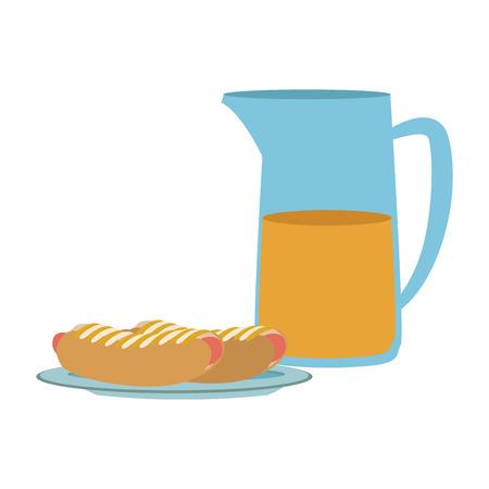 hot dog food with jar juice orange vector illustration