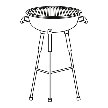 kettle barbecue grill with cover equipment vector illustration