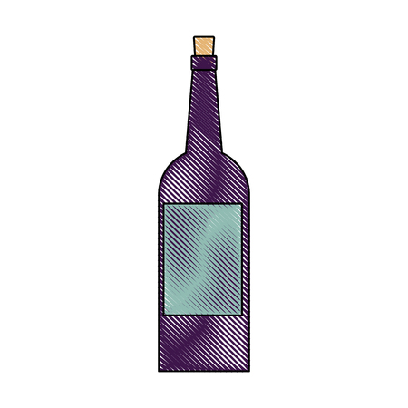 wine bottle drink alcohol beverage vector illustration