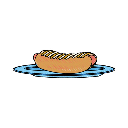 hot dog on plate kitchenware bun and sausage and mustard vector illustration