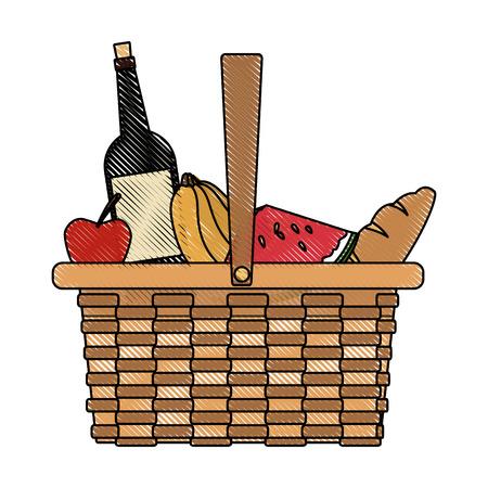 picnic basket food drink lunch design vector illustration Illustration