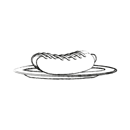 hot dog: hot dog on plate kitchenware bun and sausage and mustard vector illustration