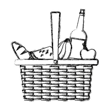 ピクニック バスケット食品ドリンク ランチ デザイン ベクトル図