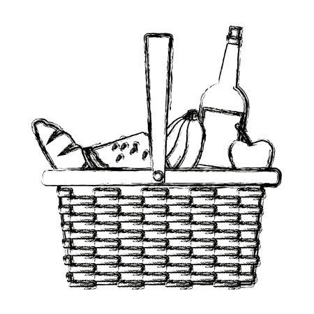 picnic basket food drink lunch design vector illustration 向量圖像