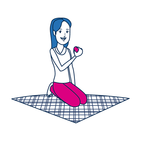 girl eating apple on lunch camping blanket vector illustration