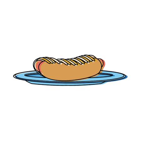Hot Dog auf Teller Geschirr Brötchen und Wurst und Senf Vektor-Illustration Standard-Bild - 83501511