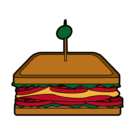 cheddar: sandwich tomato cheese traditional ham and olive on toast vector illustration