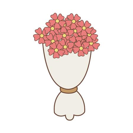 ブーケのピンクの花のロマンチックな飾りラップ紙ベクトル図