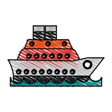 cruise ship icon image vector illustration scribble Illustration