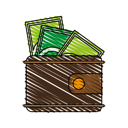 wallet with money icon image vector illustration scribble