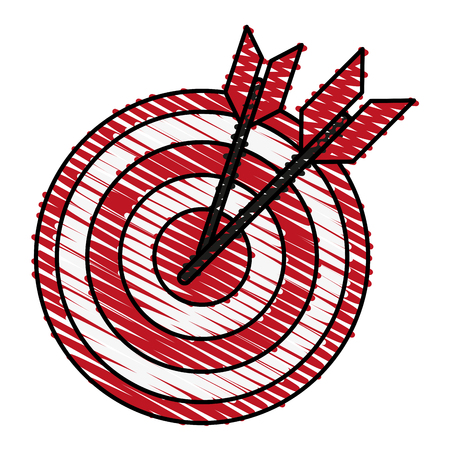 bullseye with dart icon image vector illustration scribble