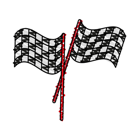final lap flags icon image vector illustration scribble
