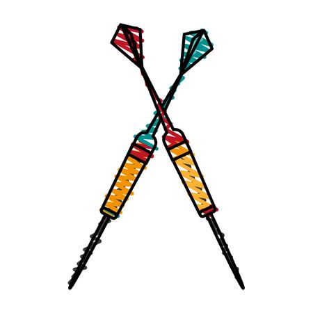 dartboard darts icon image vector illustration scribble