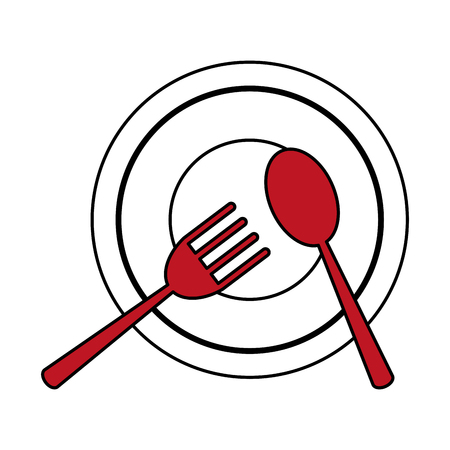 plate with fork and spoon icon image vector illustration design