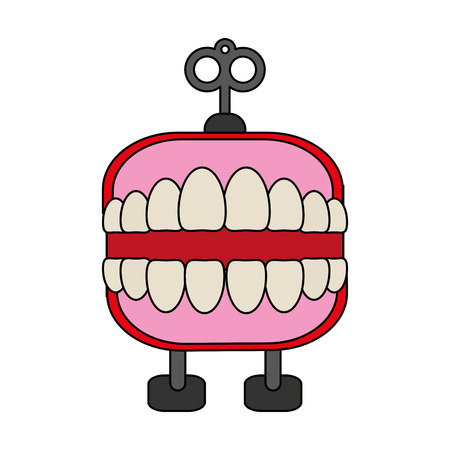 wind up chattering teeth toy icon image vector illustration design