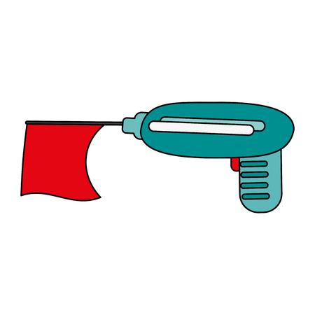 prank gun with flag toy icon image vector illustration design Illustration