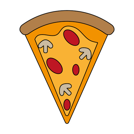pizza slice delicious fast food icon image vector illustration design