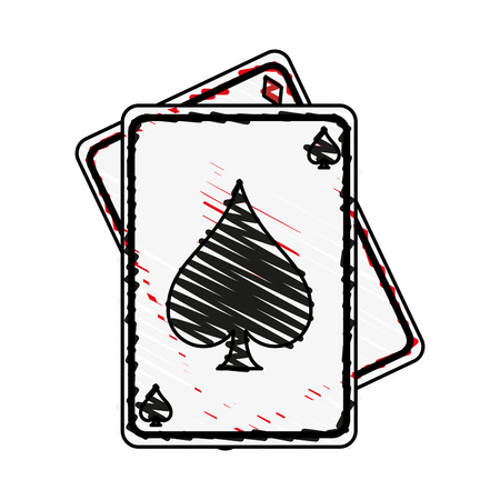 game cards spades diamonds icon image vector illustration scribble Illustration