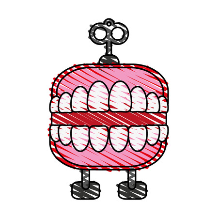 wind up chattering teeth toy icon image vector illustration scribble