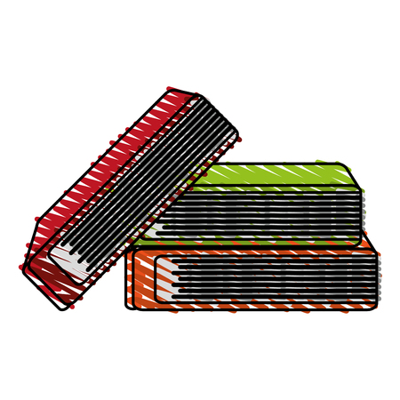 book pile icon image vector illustration scribble