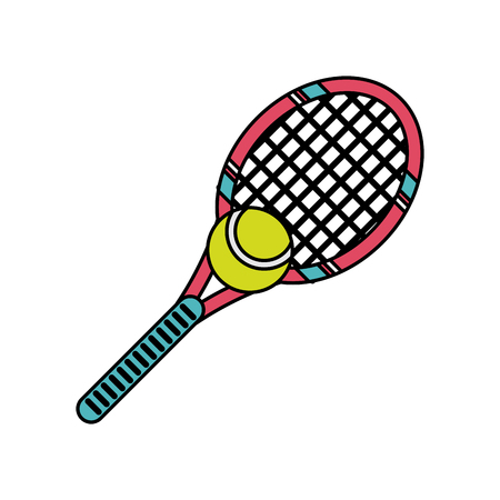tennis racquet and ball sport or fitness related icon image vector illustration design