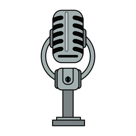 vintage microphone icon image vector illustration design