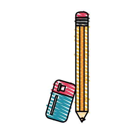 Garabato colorido del lápiz y del borrador sobre la ilustración del vector del fondo blanco
