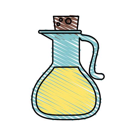 decanter: Colorful oil jar doodle over white background vector illustration
