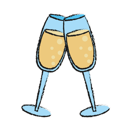 Colorful champagne glasses doodle over white background vector illustration
