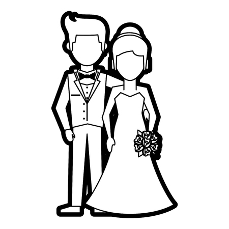 Flat line uncolored married couple over white background vector illustration