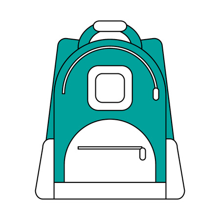 hint: Flat line backpack with a hint of color over white background vector illustration