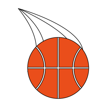 Flat line basketball with a hint of color over white background vector illustration