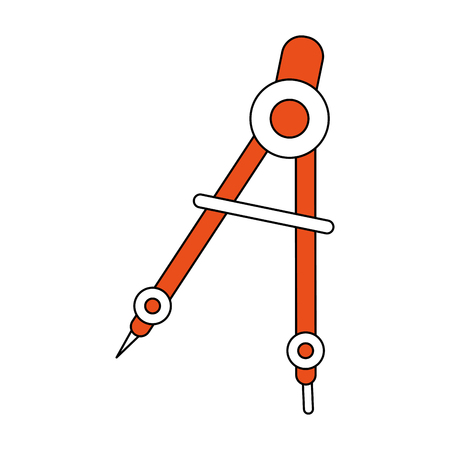 hint: Flat line compass with a hint of color over white background vector illustration