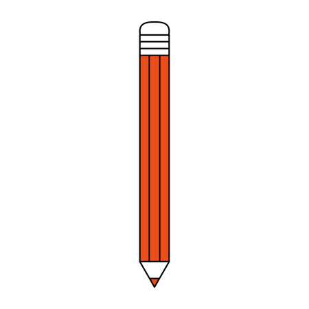 Flat line pencil with a hint of color over white background vector illustration