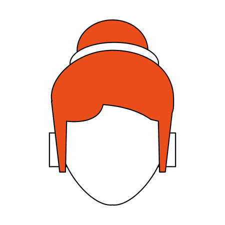 hint: Flat line woman head with a hint of color over white background vector illustration Illustration