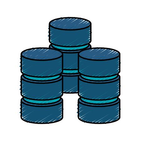 Colorful data storage doodle over white background vector illustration Illustration