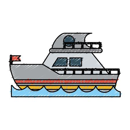 flotation: Colorful ship doodle over white background vector illustration