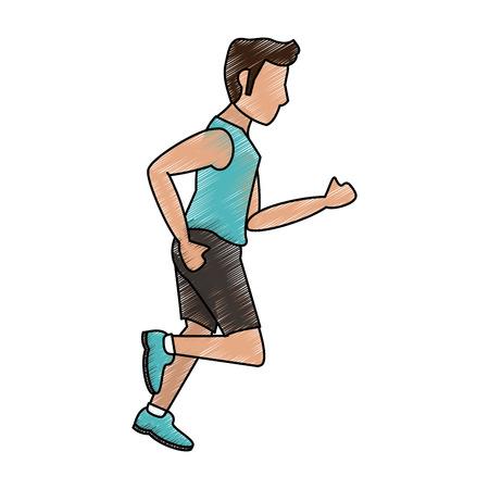 endurance run: Colorful running man doodle over white background vector illustration Illustration