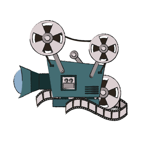 volume control: Colorful video camera and film doodle over white background vector illustration Illustration