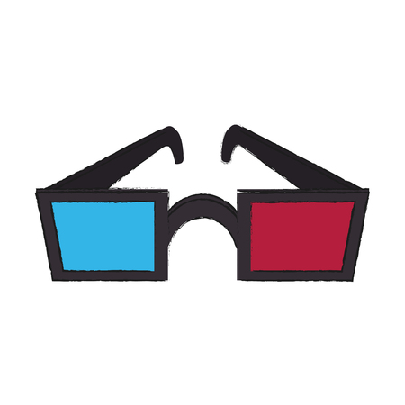 Colorful 3D glasses doodle over white background vector illustration