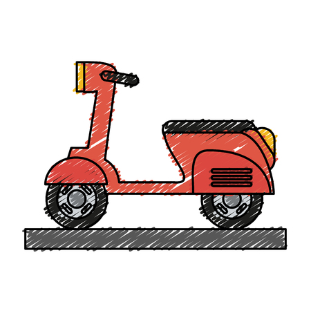 Colorful scooter motorcycle doodle over white background vector illustration