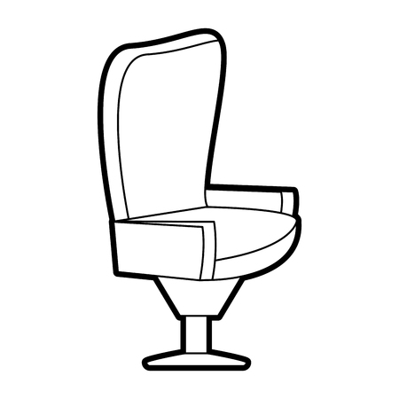 conformity: Flat line uncolored seat over white background vector illustration
