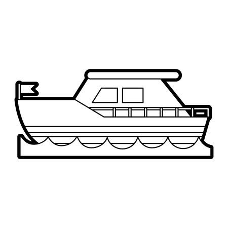 flotation: Flat line uncolored ship over white background vector illustration