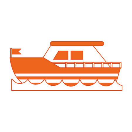flotation: Flat line ship with hint of color over white background vector illustration