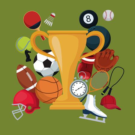 fond de couleur avec trophée d'or coupe icônes éléments sport vector illustration