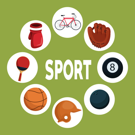 color background with circular frames and icons elements around text sport vector illustration