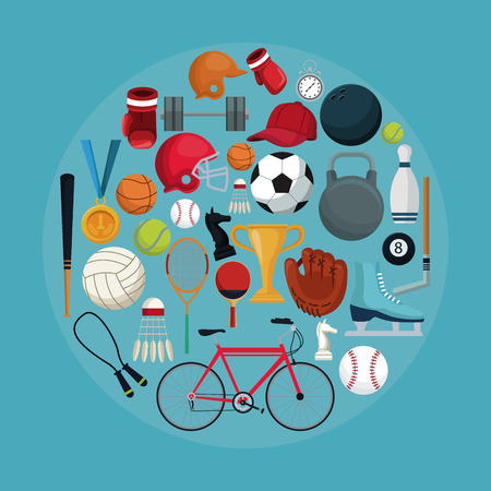 color background with circular frame of set collection elements sport vector illustration Illustration