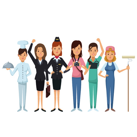 white background with group female people of different professions vector illustration