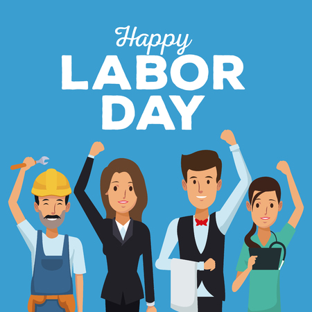 color card of happy labor day with people of different professions vector illustration  イラスト・ベクター素材