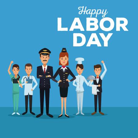 Tarjeta de color del día feliz del trabajo con personas de todo el cuerpo de diferentes profesiones ilustración vectorial Foto de archivo - 83624185